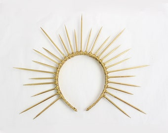 Gold Halo Crown, Gold Spike Crown, Bridal Crown, Crown Headband, Halo Headpiece, Virgin Mary Costume