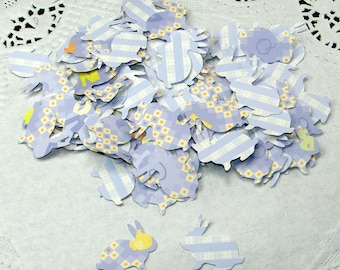 Baby Blue Bunny Nursery Confetti, 100 Hand Punched Pieces
