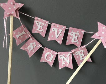 Christening cake topper bunting, happy birthday banner. Cake decorations. i am one banner