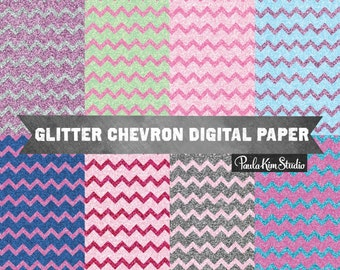Glitter Chevron Digital Papers, Chevron Patterns, Instant Download, Backgrounds