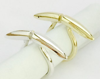 Long open bar ring. Spike ring. Handmade in brass or Sterling silver  . Moon horns shaped ring