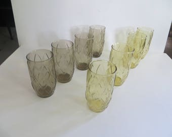 Anchor Hocking Madrid Glasses Tumblers 4 Brown 4 Gold