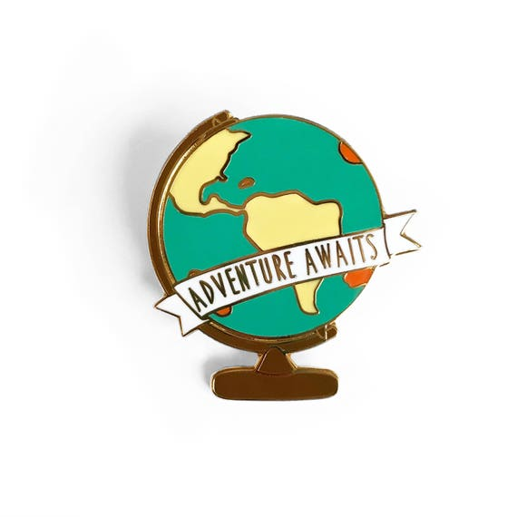 Adventure awaits globe enamel pin gold world map globe gumiabroncs Choice Image