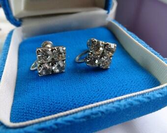 Rhinestone earrings. Clear prong set rhinestone earrings. Cubes of clear rhinestones.