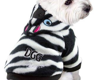 Dog Polar Fleece Zebra Print jumper with hood