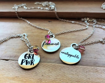 Feminist necklace, girl power, unstoppable. 3 best friend necklace, or set of 2, or 1. Silver charm necklace. Friendship necklace for 3.
