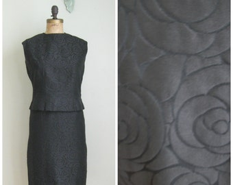 1960's Two Piece LBD// Black Rose