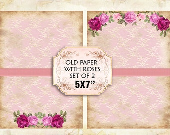 Old paper Vintage with roses Shabby chic paper Scrapbook Decoupage 5x7 inch (379)