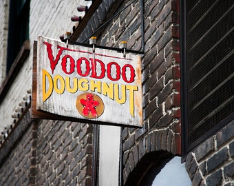 Portland Oregon photo - Voodoo Doughnuts art - Urban photography print - Travel photograph - Vintage sign wall decor - Portlandia donuts