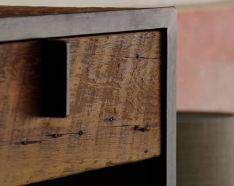 night stand from reclaimed wood and steel - with drawer - salvaged fir, recycled steel - end table, coffee, ottoman - modern vernacular