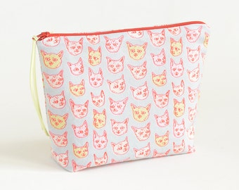 Gritty Kitties Boxy Pouch | Original Fabric Design | Project or Make-up Bag