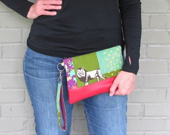 Key Fob Clutch - Lion Clutch in Red - Echino Linen Fabric Bag