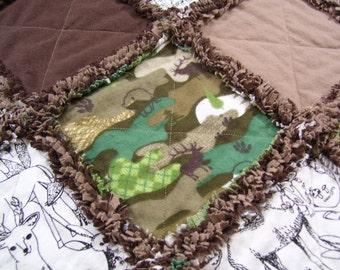 Baby rag quilt, rag quilt, camo quilt, camo blanket, camo baby bedding, baby bedding, baby quilt, wilderness baby quilt, camo baby blanket
