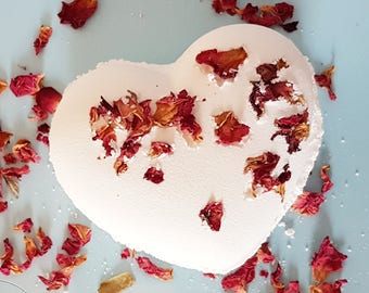 Valentine Bath Bomb - Heart Shaped - In the Mood for Love - Bath for two - Valentines Day gift- Sensual Essential Oils - Made to share!
