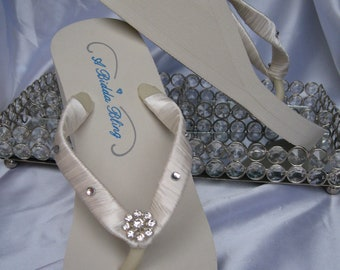 SALE - White Flip Flops or Ivory Flip Flops with Crystals and  Rhinestones for the Bride and her Bridal Party Bridal Ivory Sandals