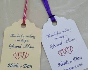 "Personalized Favor Tags 2.5""L x1.8""w', Wedding tags, Thank You tags, Favor tags, Gift tags,  baseball wedding favor tags"