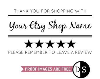 Etsy Seller Review Personalised Stamp, Thank You For Your Purchase, Please Remember To Leave A Review, Custom Business Stamp, (cts218)
