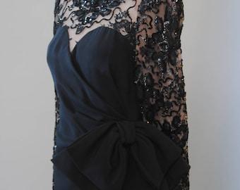 Vintage Illusion Dress 70s Estevez Jersey LBD Sequin Eyelash Lace Dress Nude Illusion Lace Dress M