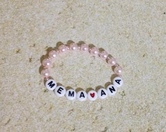 baby bracelet, light pink baby bracelet name, pearl bracelet, personalized bracelet, granddaughter gift, beaded name bracelet, baby jewelry