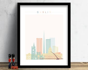 Dublin Skyline, Print, Watercolor Print, Wall Art, Watercolor Art, City Poster, Cityscape, Home Decor, Christmas Gift PRINT