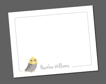 Personalized Note Cards, Cockatiel Note Cards, Personalized Thank You Cards, Bird Notecards, Teacher Gift, Flat Note Cards, Cockatiels
