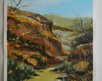 Original Watercolor Painting, Mountain Watercolor, Mountain Landscape, Original painting, Small Picture, Mountain Art, Watercolor Picture