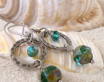 Hypoallergenic - Pure Titanium - Beaded Earrings - Dangle Earrings - Titanium Earrings - Long Earrings - Aqua Blue Bead Earrings