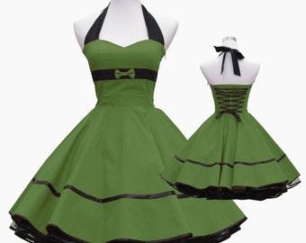50's vintage dress full skirt black dark green sweetheart bow design lace back custom made Retro