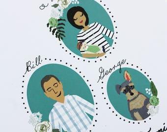 Custom Illustrated Family Portrait (Profiles)
