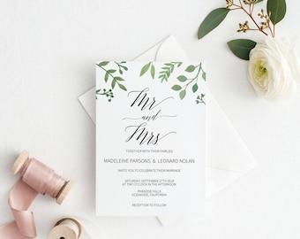 Modern Greenery Wedding Invitation Template, Mr Mrs Wedding Invitation Printable, Cheap Invitation,DIY PDF Instant Download #E023