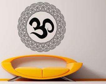 Mandala Wall Decal Flower Mandala Vinyl Sticker Indian Lotus Murals Interior Home Decor (13ma4l)