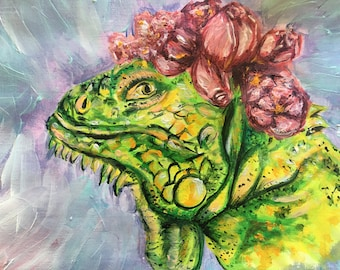 Iguana in flower crown painting, acrylic, small, original