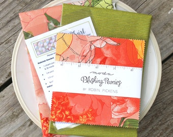 Twirl Quilt Kit ~ Blushing Peonies by Robin Pickens~ Green Binding & Floral Backing