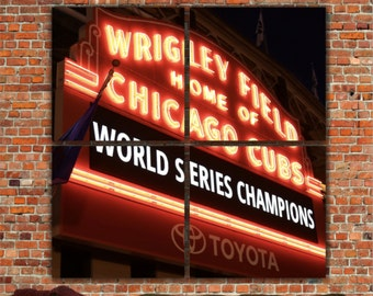 Chicago Cubs World Series Champions 4 Panel Marquee, Wrigley Field Marquee, Large Canvas Art, Chicago Cubs Artwork, Cubs Prints