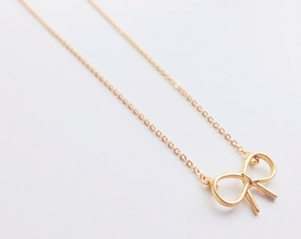 Gold bow necklace, thin bow necklace, little bow necklace, gold plated, bridesmaid gift, minimalist jewelry, simple necklace, cute necklace