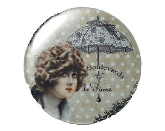 Set of 2 cabochon 25mm round glass Lady in Paris