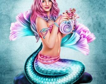 Mermaid Visions: Spring Flowers  -  Fantasy Mermaid Art - Brigid Ashwood