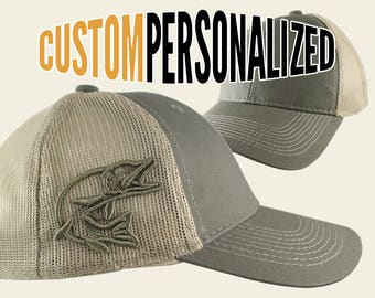 Custom Personalized Pike 3D Puff Embroidery on an Adjustable Full Fit Olive Green Trucker Cap and Your Choice of Front Decors Fishing Hat