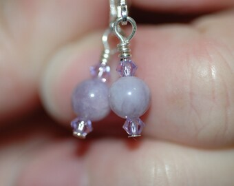 Sterling Silver Lavender Lever back Earrings