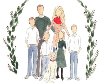 Holiday Family Portrait. Whimsy Holiday Card Design Portrait Illustration.