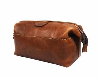 Leather Dopp Kit Groomsmen Gift Customize Leather Toiletry Bag Men's Toiletry Bag Leather Custom Dopp Kit  Third Anniversary