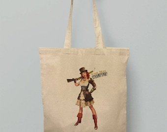 Pin Up Girl Tote Bag Steam-Punk Holdall Sexy Vintage Victorian Steampunk Pinup Tending Funny Carrier Retro Tattoo Tee Womens Mens Unisex