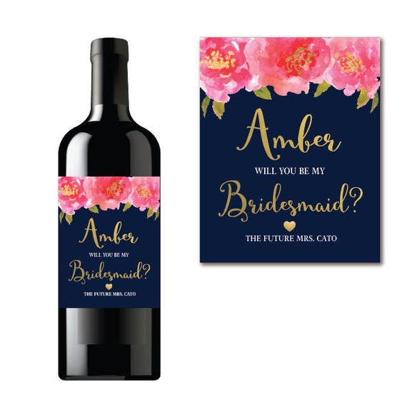 will you be my bridesmaid wine label proposal navy floral