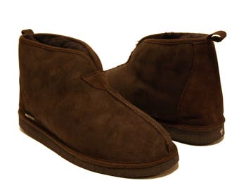 Dark Brown Sheepskin Slipper Boots