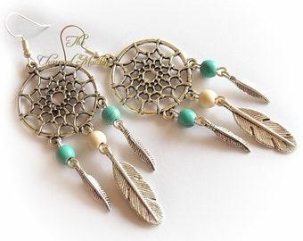 Dreamcatcher Earrings, Tribal Earrings, Feather Earrings, Southwestern Style, Boho Turquoise Earrings, Native American Inspired