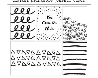 Black and White Abstract Digital Project Life Cards - Black and White Journal Cards, Project Life, Digital Download, Instant Download