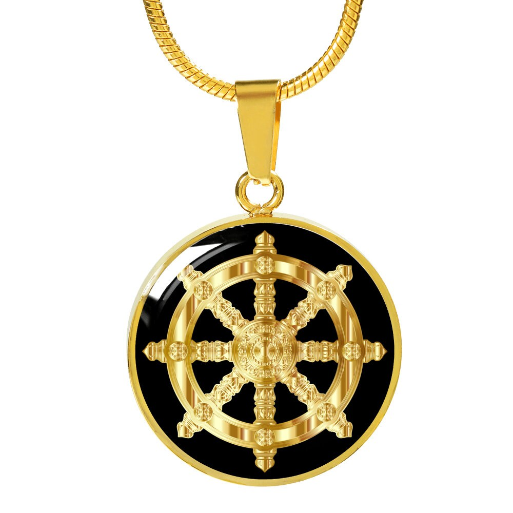 Dharma wheel necklace golden dharma wheel 18k gold zoom aloadofball Choice Image