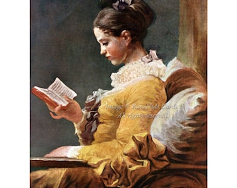 Young Girl Reading Fabric | Victorian Reader | Repro Jean-Honoré Fragonard