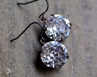 White Diamond Crystal Earrings Antique Style Jewelry Vintage Style Jewelry Swarovski Crystal Retro Jewelry Sparkly Earrings Dangle Earrings
