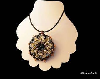 Black Leather Necklace, Cellini Pendant on Leather Necklace, Peyote Pendant and  Necklace - N2016-06